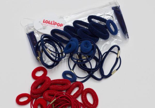 lollipop bobbles and elastics in zip bag